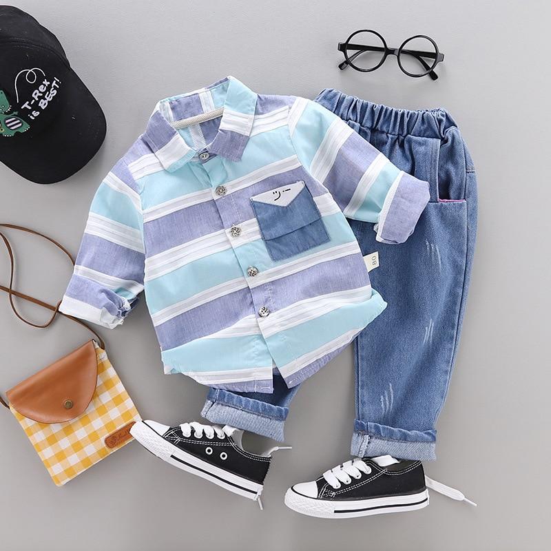 Fashion Baby Boys Clothes Spring Children Clothing Gentleman Baby Boy Striped Shirt+jeans 2pcs Set Newborn Baby Boy Clothes