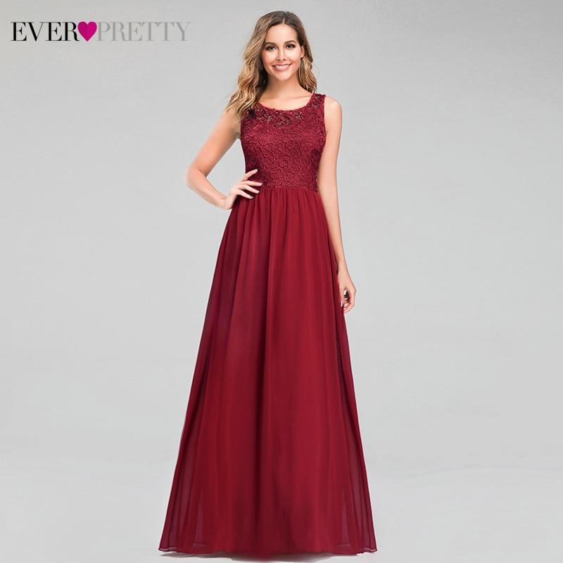 Elegant Lace Bridesmaid Dresses Ever Pretty EZ07594BD A-Line O-Neck Formal Dresses For Wedding Party Vestidos Damas Honor 2020