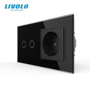 Image 2 - Livolo 16A EU standard Wand Steckdose mit Touch Schalter, AC220 ~ 250V,7 farben Kristall Glas Panel, C702 C7C1EU 11, keine logo