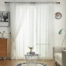 Embroidered Floral Sheer Curtains for Living Room Pearl White Lace Sheer Window Treatments Panels Drapes M189C(China)