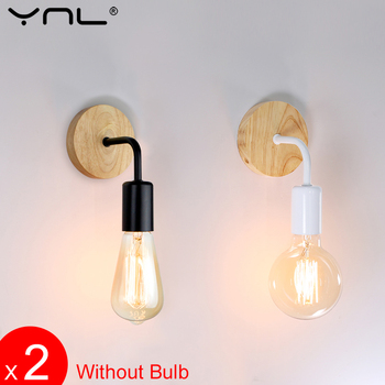 2Pcs/lot Retro Wall Lamp Wood Sconce Wall Lights Fixture E27 85-265V Bedside Lamp Indoor Lighting Industrial Decor Bedroom Light vintage wall sconce industrial wall lamps wrought iron lamp for bathroom vanity lights porch light night light lighting fixture