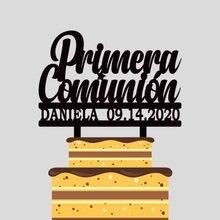 Пользовательские имя Дата испанский Mi Primera Comunión торт Топпер для детей первого святого причастия вечерние украшения торта YC004