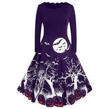 Halloween Dress Pumpkin Printed Retro Vintage Party Costume Long Sleeve Mid Length Princess Swing Vestido Winter D30