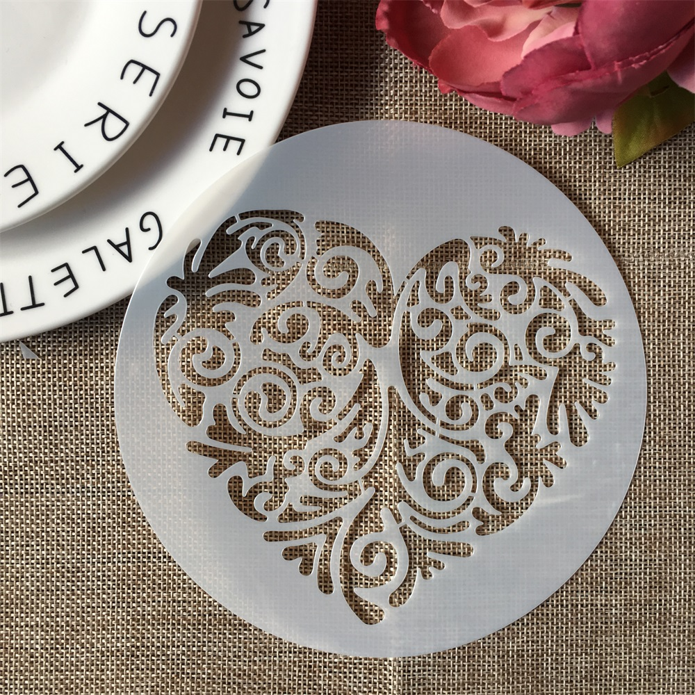 15cm Round Big Heart DIY Layering Stencils Wall Painting Scrapbook Coloring Embossing Album Decorative Template