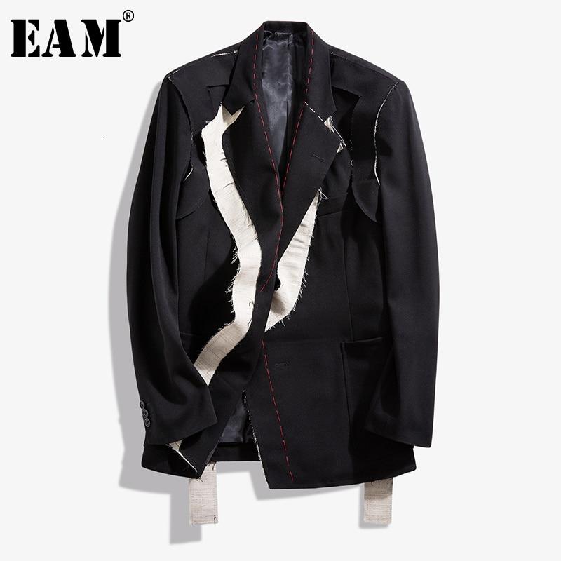 [EAM]  Women Black Contrast Color Burr Split Blazer New Lapel Long Sleeve Loose Fit  Jacket Fashion Spring Autumn 2021 1N048