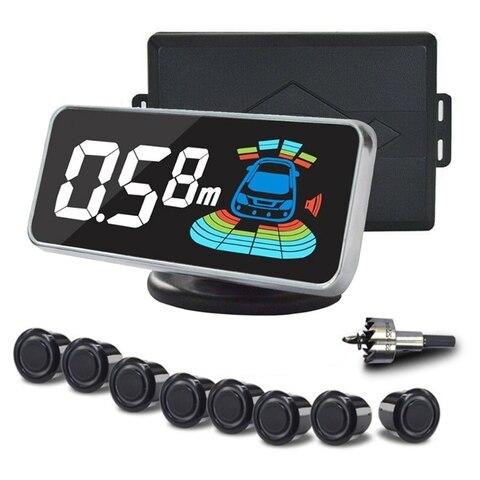 sensor de estacionamento parquonico com 8 sensores sistema de auto detector assistencia traseira buzzer de