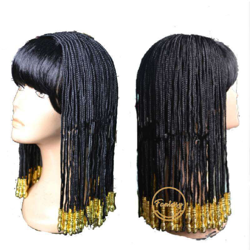 Cleopatra Egyptian Wig Ladies Women Queen Fancy Dress Black Gold Braided Hair Wk