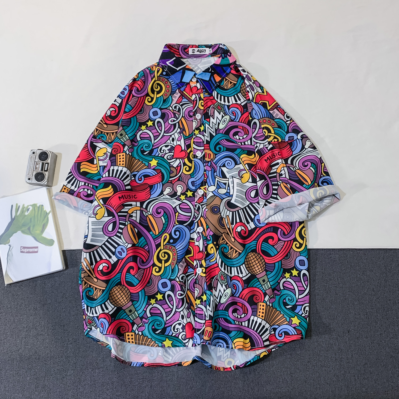 OSCN7 Casual Streetwear Beach Printed Short Sleeve Shirt Men 2020 Hawaii Oversize Fashion Harujuku Women Shirts C142