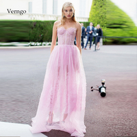 Verngo Lace Evening Dress Pink Appliques Formal Dress Backless Evening Gown Vintage Prom Dress Party Abiye Gece Elbisesi