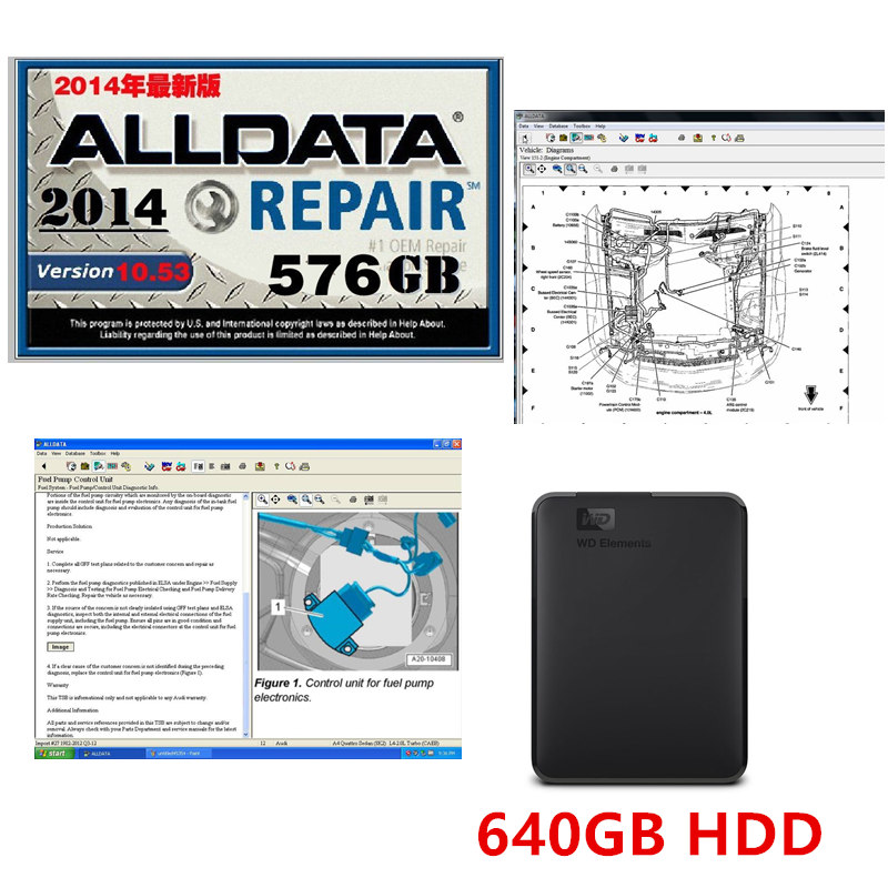 Hot NEW Arrival Alldata V10.53 Auto Repair Software And All Data Car Software With Tech Support For Cars And Trucks USB 3.0