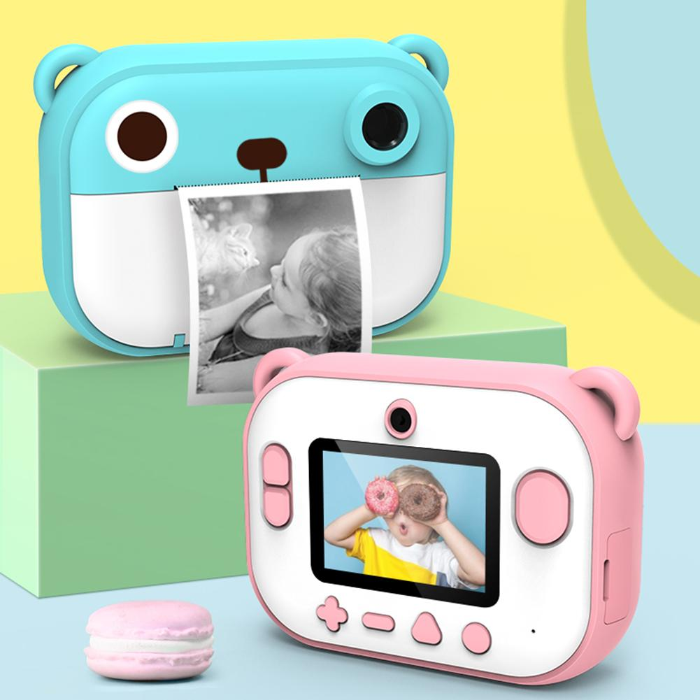 Children's Mini Digital Camera Set 2.4Inch 1080P 1200W DIY Photo Printing Video Recorder Camcorder Kids Large Head Sticker Gifts
