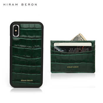 Hiram Beron Personalized FREE green leather card wallet case with case for iphone 11 Pro Max embossed crocodile pattern - Category 🛒 Luggage & Bags