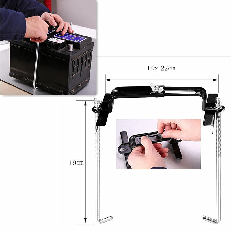 Universal Metal Adjustable Battery Holder Stabilizer Mount Storage Rack Fixed Bracket Stand Automobile Car 19CM