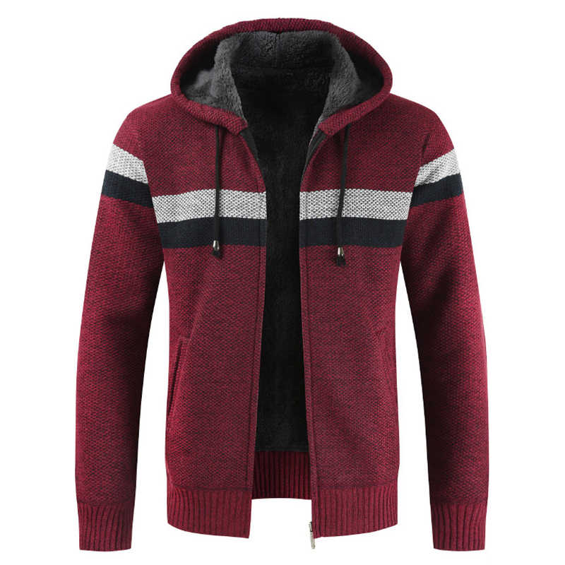 JODIMITTY 스웨터 코트 남자 2019 겨울 두꺼운 따뜻한 후드 카디건 점퍼 남성 스트라이프 캐시미어 울 라이너 지퍼 양털 코트 남자