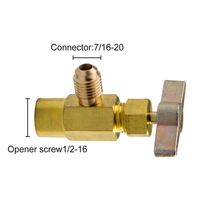 R-134a R-134 AC DV-134 Brass Gold Refrigerant CAN TAP Opener Valve 1/2 ACME Adapter 7/16-20 Connector 1/2-16 Screw