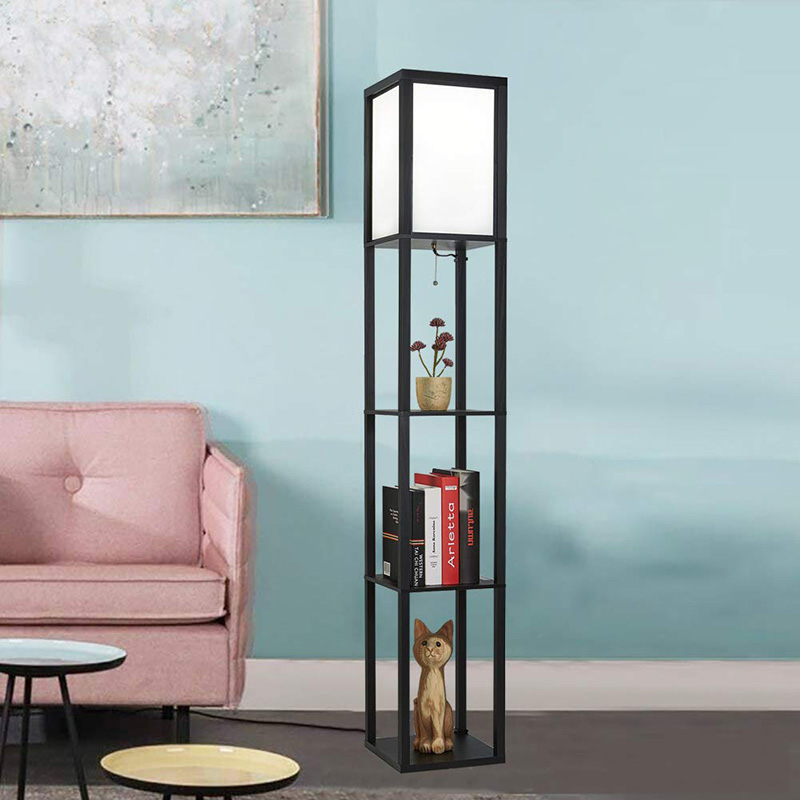 LED Shelf Floor Lamp Wooden Frame Tall Light With Organizer Storage Display Shelf-Modern Standing Lamps For Living Room Bedroom