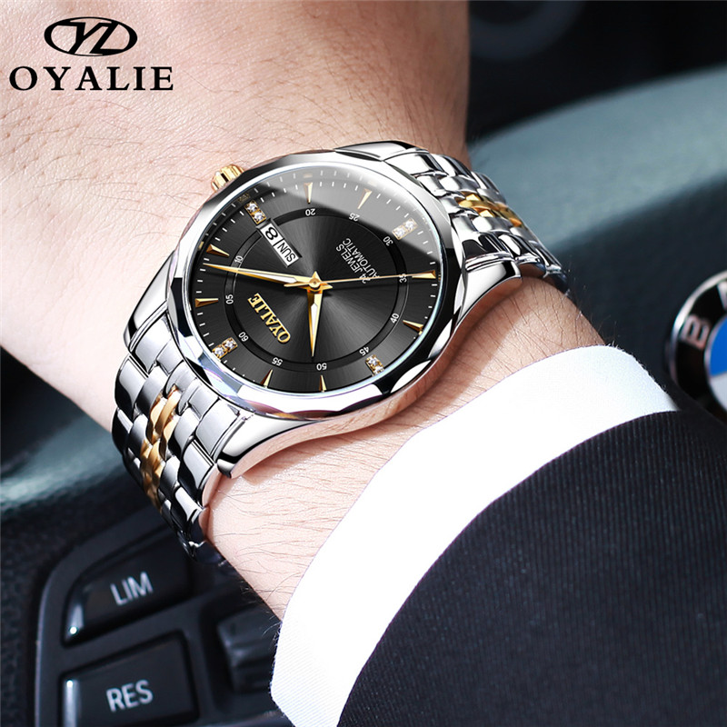 OYALIE Men Watch Imported Movement Stainless Steel Calendar Automatic Mechanical Multifunction Luxury Waterproof Watch For Men