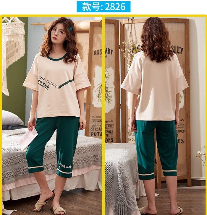 Conjuntos de pijama panturrilha comprimento calças femininas