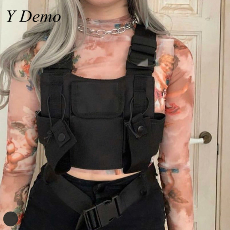 New Techwear Cyber Punk Couple Chest Bag Adjustable Black Straps Bag