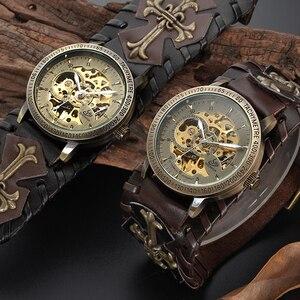 Image 5 - רטרו ברונזה שלד אוטומטי מכאני שעון גברים גותי Steampunk עצמי מתפתל שעוני יד ייחודי עור שעונים Reloj Hombre