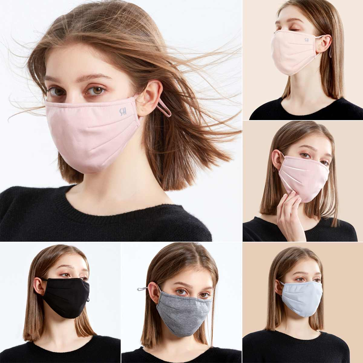 Black Face Mask Anti PM2.5 Air Pollution Mouth Face Mask Anti Dust Washed Reusable Masks Men Women