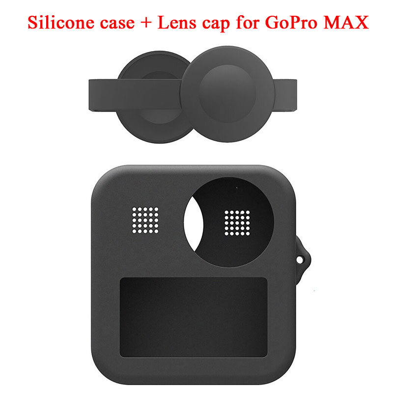 Silicone Case With Lens Cap For Gopro Max Silicone Protective Cover Go Pro Panoramic Action Camera Accessories Case
