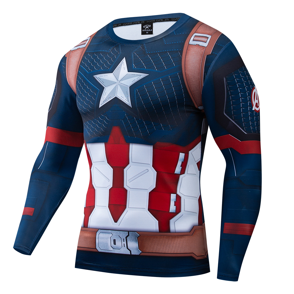 The Avengers 4 Endgame Superhero Captain America Cosplay Compression Premium T-shirt Finess Gym Quick-Drying Tight Tops