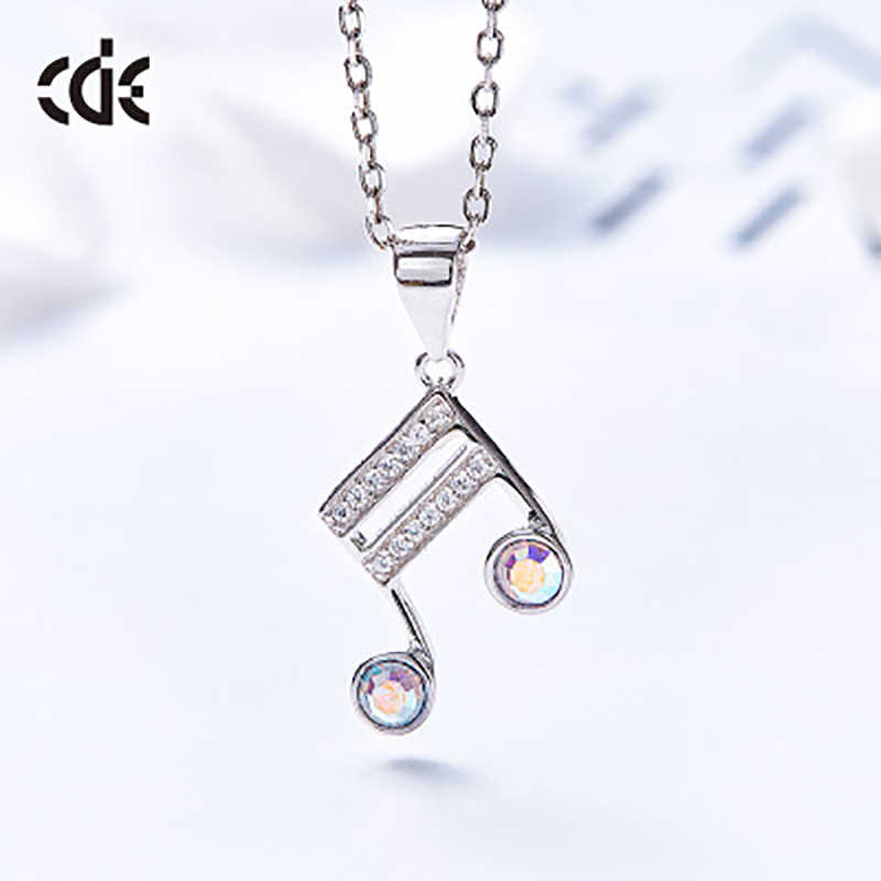 CDE Luxury Embellished with crystals from Swarovski Necklaces Jewelry 925 Sterling Silver Elegant Note Necklaces Women Gift