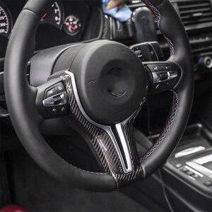 Image 2 - Dopasowana osłona kierownicy dla BMW F10 F30 F20 F48 F25 F32 samochodów z włókna węglowego M obudowa przycisków na kierownicy powłoki zastąpić biegów wiosła