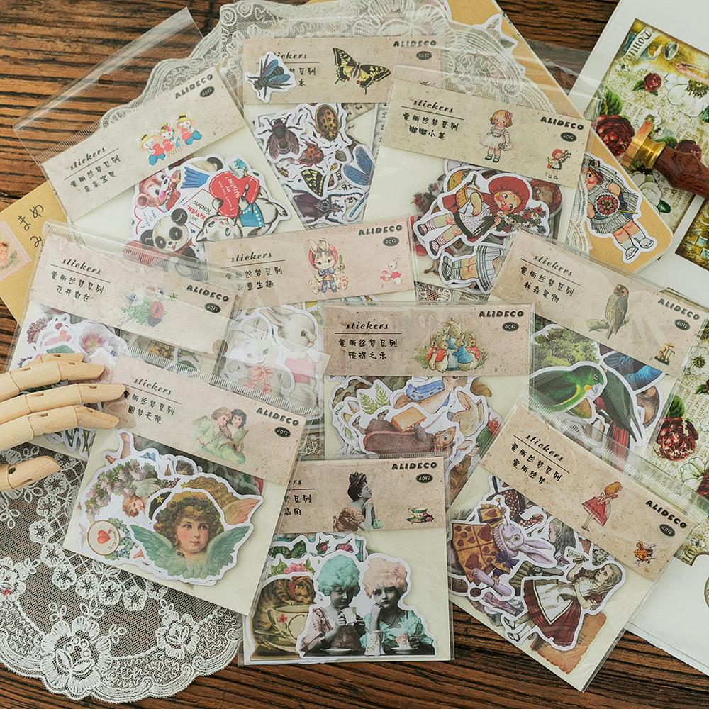 20sets/1lot Kawaii Stationery Stickers Vintage Alice Dream Diary Planner Junk Journal Decorative Scrapbooking DIY Craft Stickers