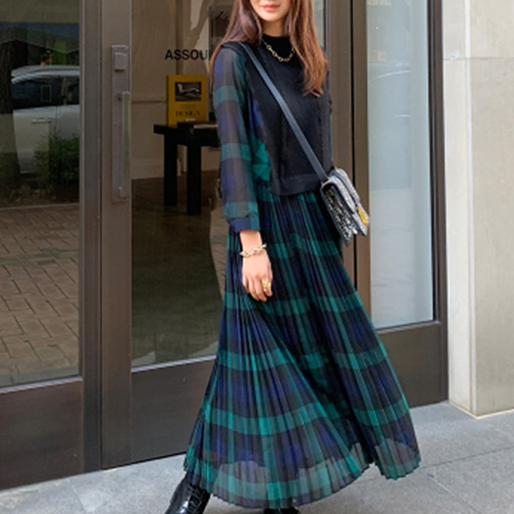 Korean Style Plaid Women Long Dresses Spring Autumn 2019  Pleated High Waist Daily Date Dress Robe Femme Vestiods Maxi Dress