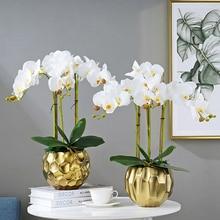 9 головок Орхидея искусственный цветок фаленопсис для дома Свадебные Декоративные цветы DIY настоящая сенсорная бабочка Орхидея 96 см