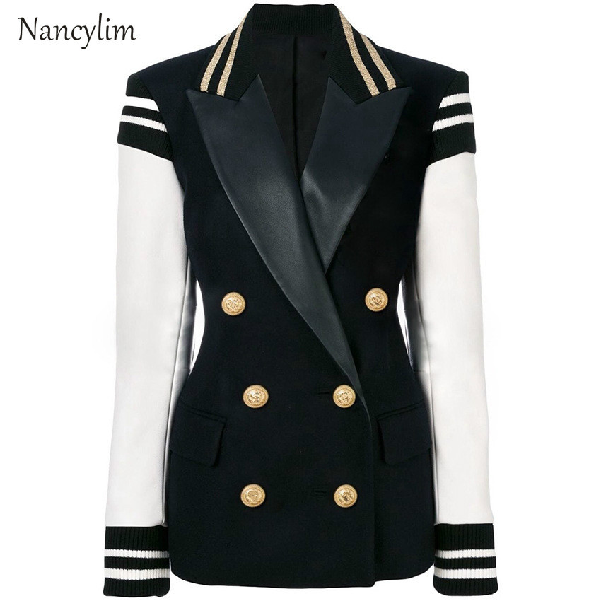 Plus Size Double-Row Suit Jacket Womens Jackets Lapel Long Sleeve White Black Coat Manteau Femme Chamarras De Mujer Nancylim