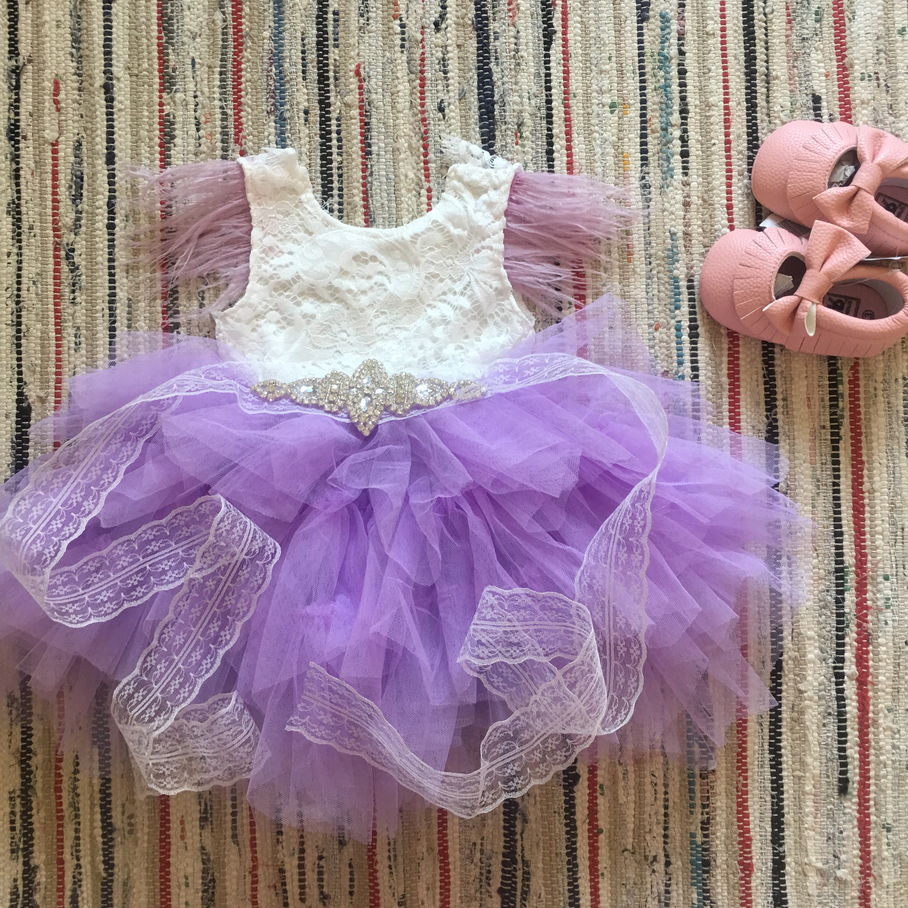 Princess baby feather dress 1st birthday party toddler girls lace flying sleeve summer dress kids tutu clothing with sashes 6