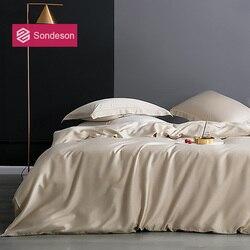 Sondeson lüks % 100% İpek 25 Momme nevresim takımı ipek sağlıklı cilt güzellik yorgan yatak örtüsü seti düz levha yastık yatak takımı yetişkin için