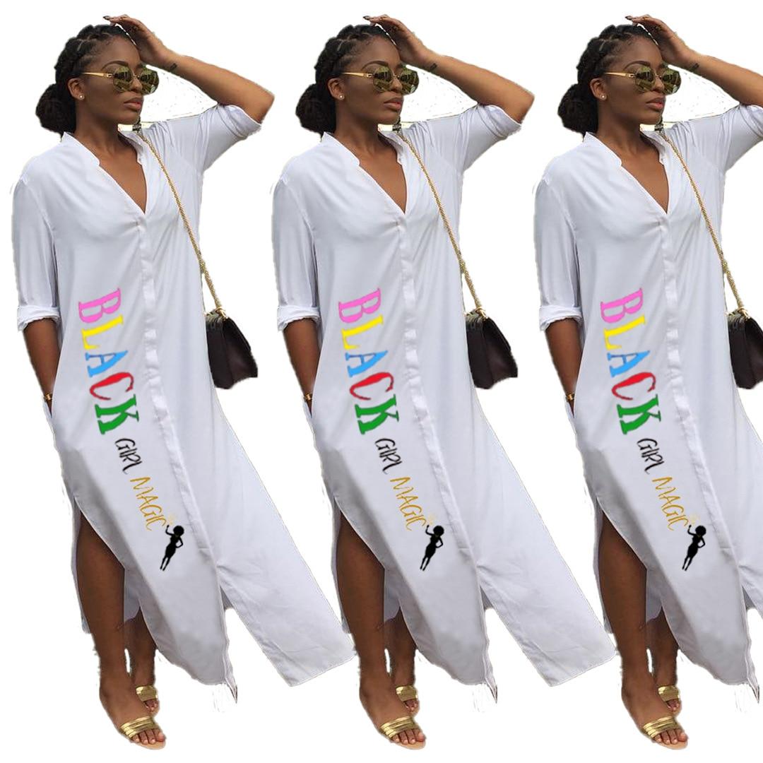 1L122 summer women street dress vestidos plus size V-neck splic letter white dress