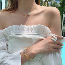 Fashion creative sunflower sun flower rose gold, gold-color, silver-color necklace,4 sets of accessories,Trendy Daisy Jewelry