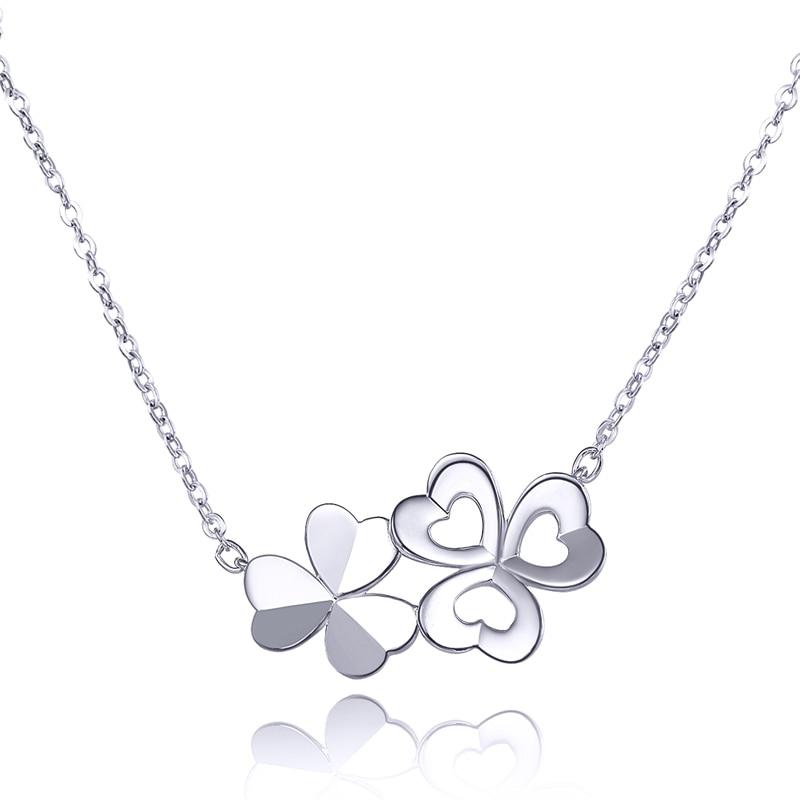 Lucky PT950 platine blanc véritable or massif trèfle fleur ensemble chaîne pendentif collier clavicule pour les femmes dame fantaisie bijoux de bureau