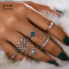 Tocona Boho Silver Color Clear Rhinestone Moon Rings Sets for Women Men Butterfly Flowers Geometric Joint Ring Jewelry anillo