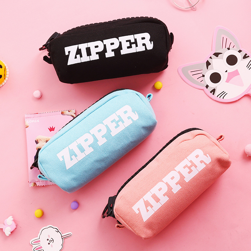 Large Zipper Pencil Case Simple Canvas Big Pencilcase Pink Stationery Box Boy Girl Student Storage Bag Back To School Supplies