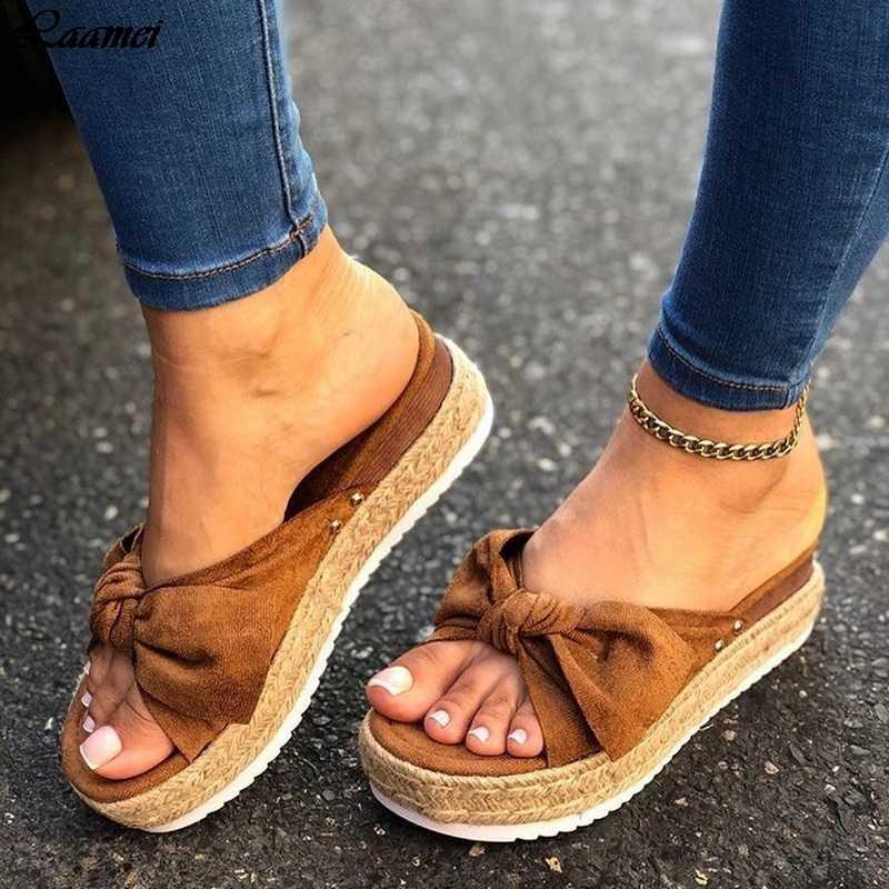 2020 leopar yay sandalet yaz düz ayakkabı Sliippers kelebek düğüm ayakkabı kadın tasarımcıları kama topuk bayanlar plaj parti sandalet