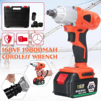 168VF 300NM Brushless Electric Wrench 19800mAh Cordless Impact Wrench Power Tool with Battery LED Light + Box Gift