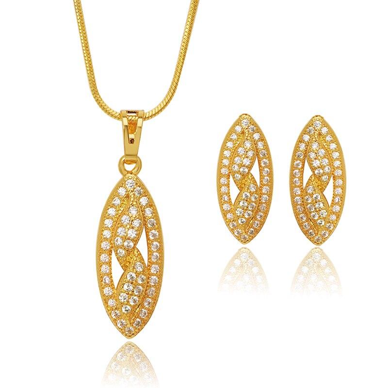 MxGxFam Olive Shape Zircon Earring Pendant Necklace Jewelry Set 24 K Pure Gold Color