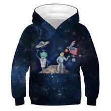 소년을위한 외계인 로켓 후드 소녀 10 12 년 어린이 운동복 3D 인쇄 까마귀 하이틴 운동복 봄 가을 어린이 옷