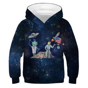 Image 1 - エイリアンロケットパーカー少年少女のため 10 12 年子供トレーナー 3Dプリントパーカーティーンスポーツウェア春秋の子供服