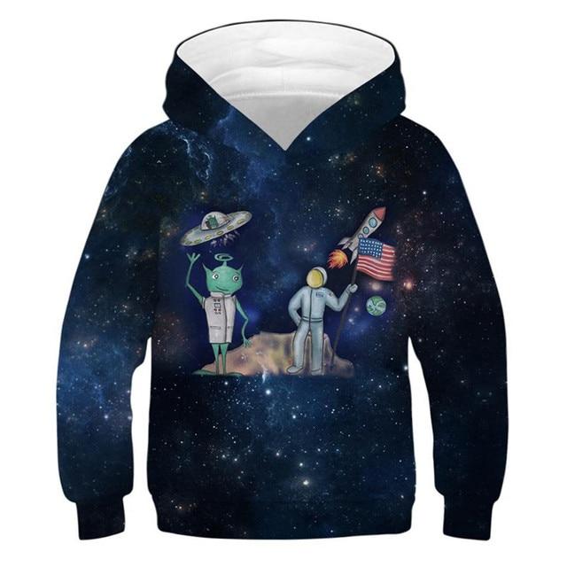 Alien roket Hoodies kızlar 10 12 yıl çocuk kazak 3D baskılı kapüşonlu svetşört genç spor ilkbahar sonbahar çocuk giysileri