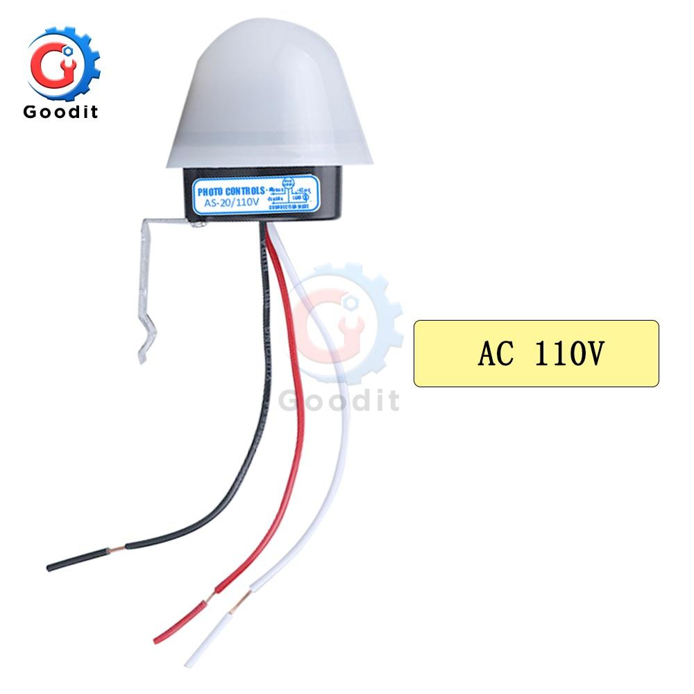 AS-20 DC 12V AC 110V 220V 10A водонепроницаемый чувствительный автоматический фото Переключатель Вкл/Выкл фотоэлемент переключатель уличного света сенсор переключатель инструменты - Цвет: AC 110V