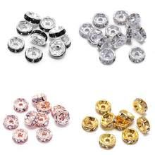 50 teile/los Gold Mehrfarbig Lose Strass Kristall Perlen 6 8 10 12 mm Metall Rondelle Spacer Perlen Für Diy Schmuck, der
