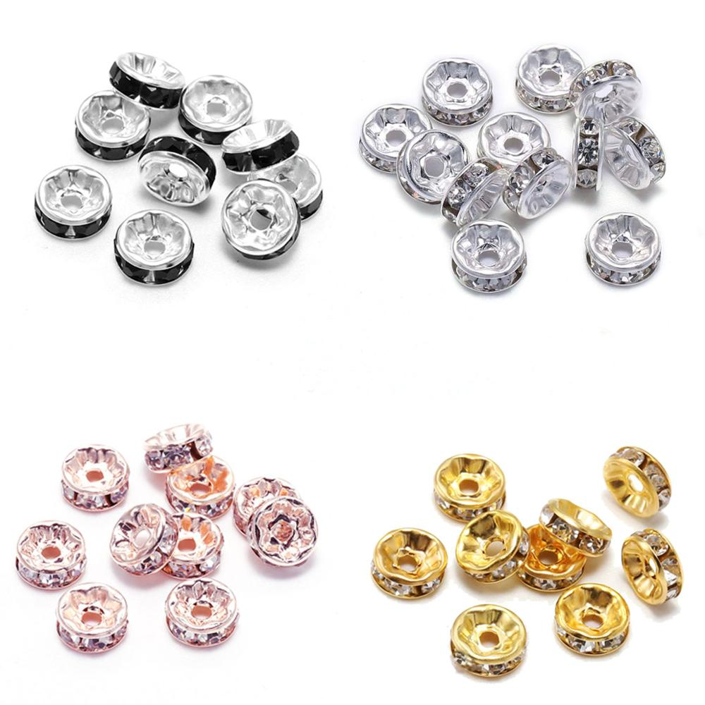 50pcs/Lot Gold Silver Multicolor Loose Rhinestone Crystal Beads 6 8 10 12 mm Metal Rondelle Spacer Beads For Diy Jewelry Making