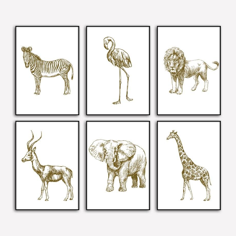 Affiches et imprimés nordiques de flamand rose   Éléphant Lion, antélope, girafe zèbre, toile dart murale, peintures murales pour salon